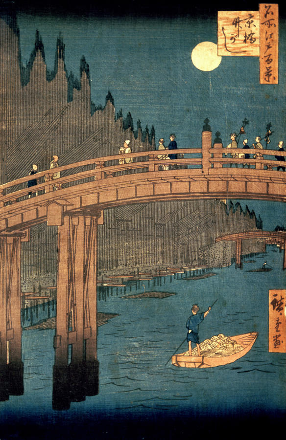 Kyoto Bridge By Moonlight Painting  - Kyoto Bridge By Moonlight Fine Art Print
