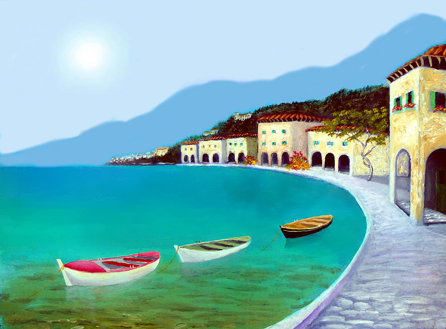 Sea Side Town Painting - La Citta Sul Mare by Larry Cirigliano