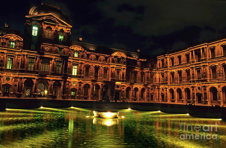 La Cour Carree And The Building Of The Louvre Illuminated At Night Photograph
