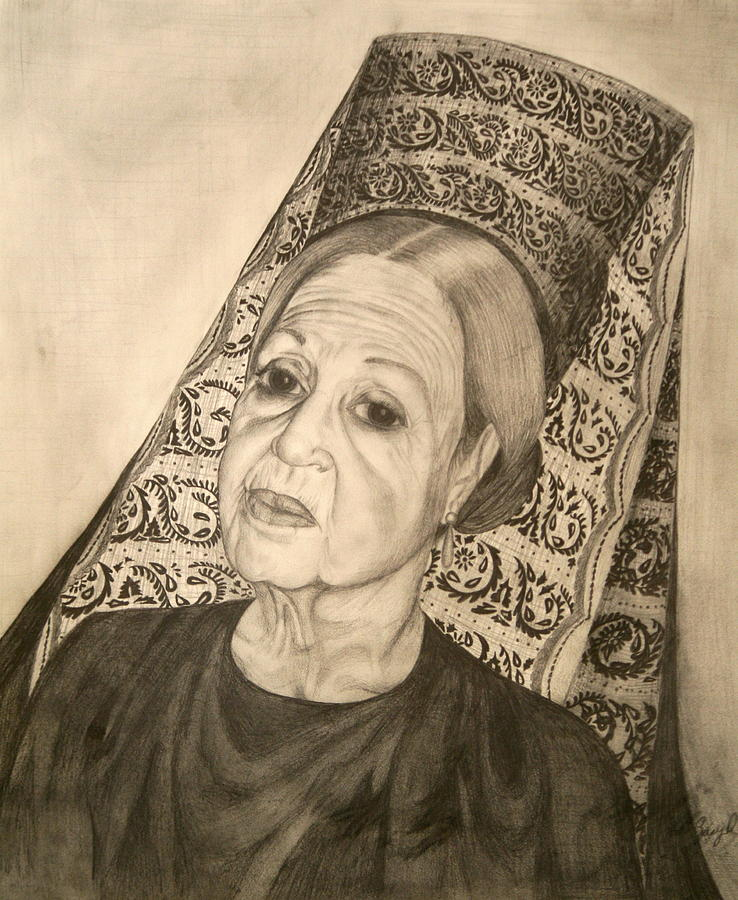La Dona With Spanish Mantilla Drawing