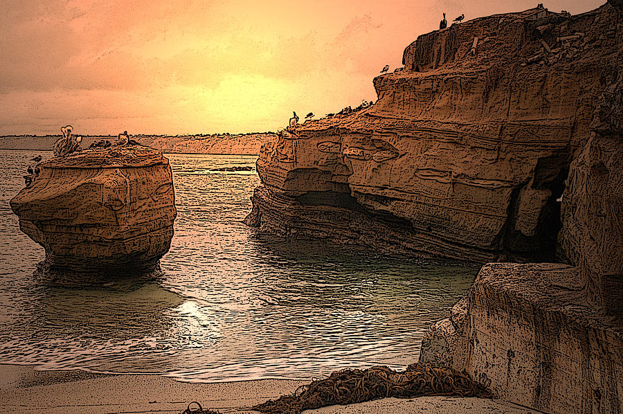 La Jolla Childrens Cove Mixed Media  - La Jolla Childrens Cove Fine Art Print