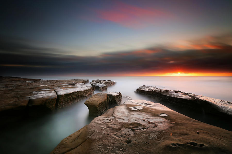 Sun Photograph - La Jolla Reef Sunset 7 by Larry Marshall