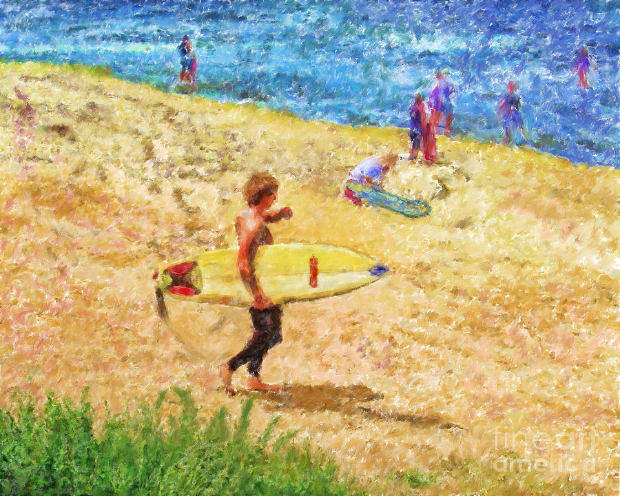 La Jolla Surfers Mixed Media