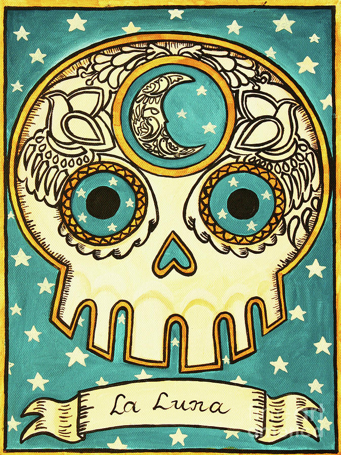 La Luna Calavera Loteria Painting  - La Luna Calavera Loteria Fine Art Print