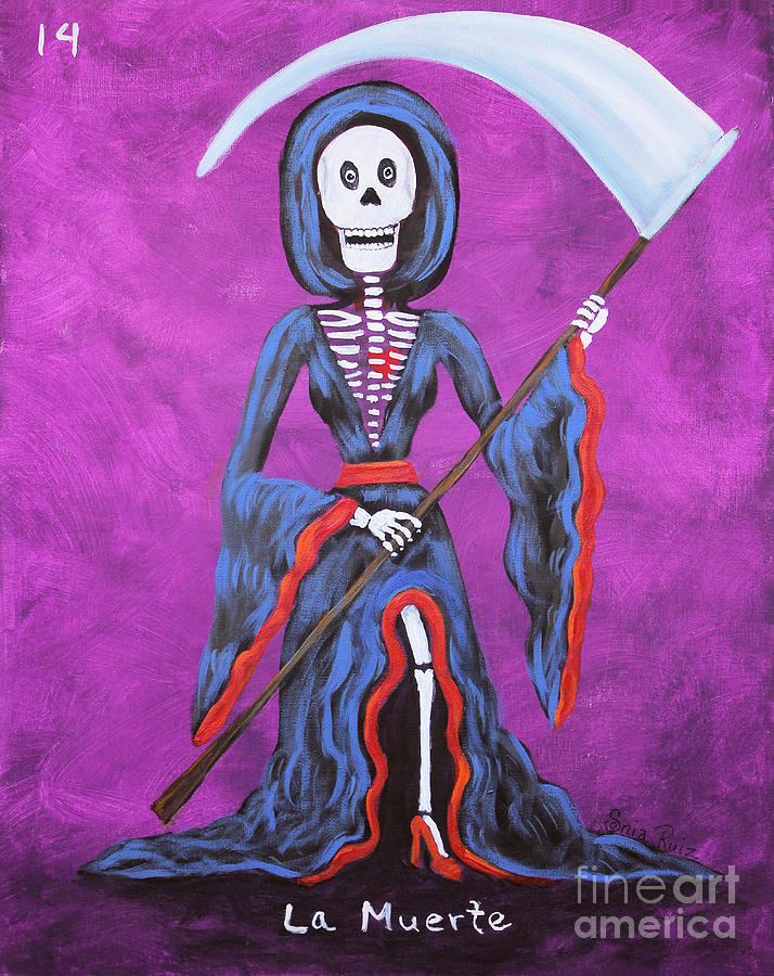 Loteria Painting - La Muerte by Sonia Flores Ruiz