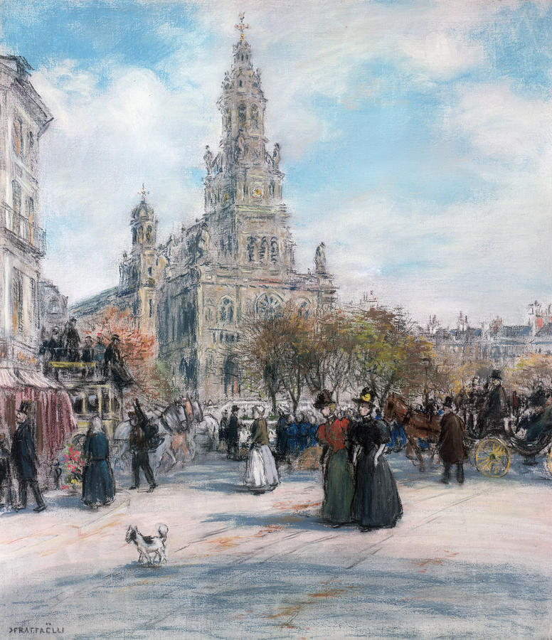 La Place De Trinite Pastel  - La Place De Trinite Fine Art Print