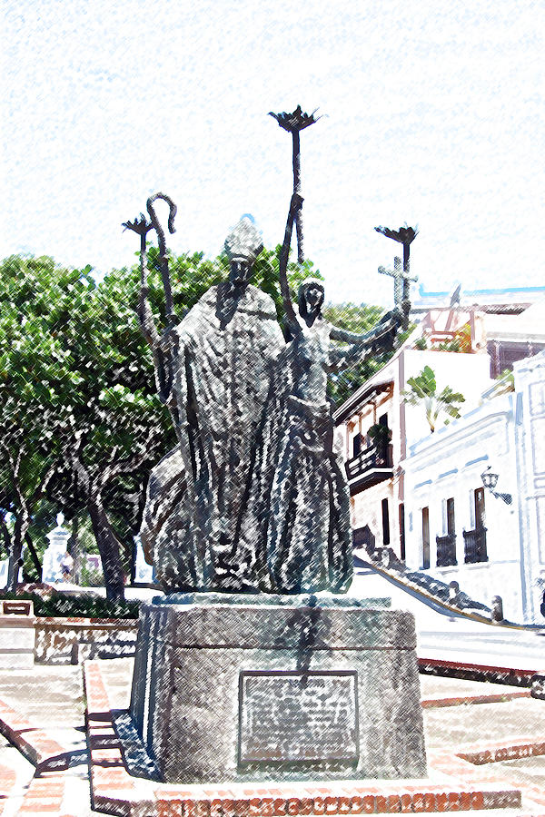 La Rogativa Sculpture Old San Juan Puerto Rico Colored Pencil Digital Art  - La Rogativa Sculpture Old San Juan Puerto Rico Colored Pencil Fine Art Print