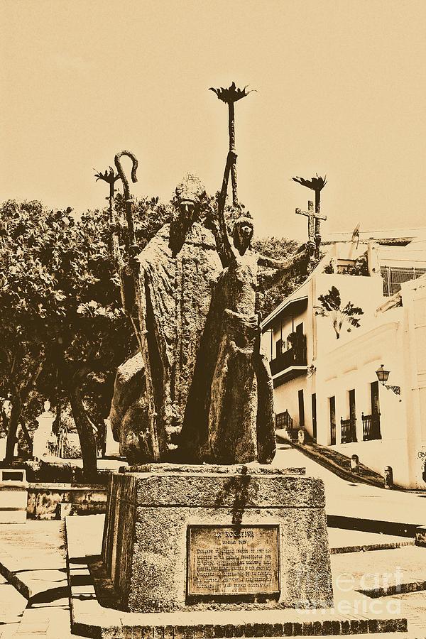 Old San Juan Digital Art - La Rogativa Sculpture Old San Juan Puerto Rico Rustic by Shawn OBrien