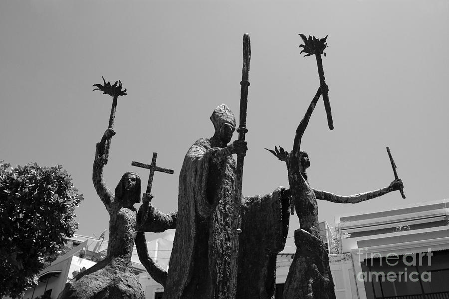 La Rogativa Statue Old San Juan Puerto Rico Black And White Photograph