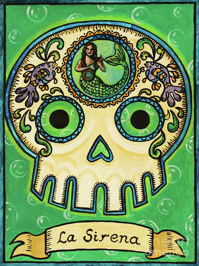 La Sirena Calavera Loteria Painting  - La Sirena Calavera Loteria Fine Art Print