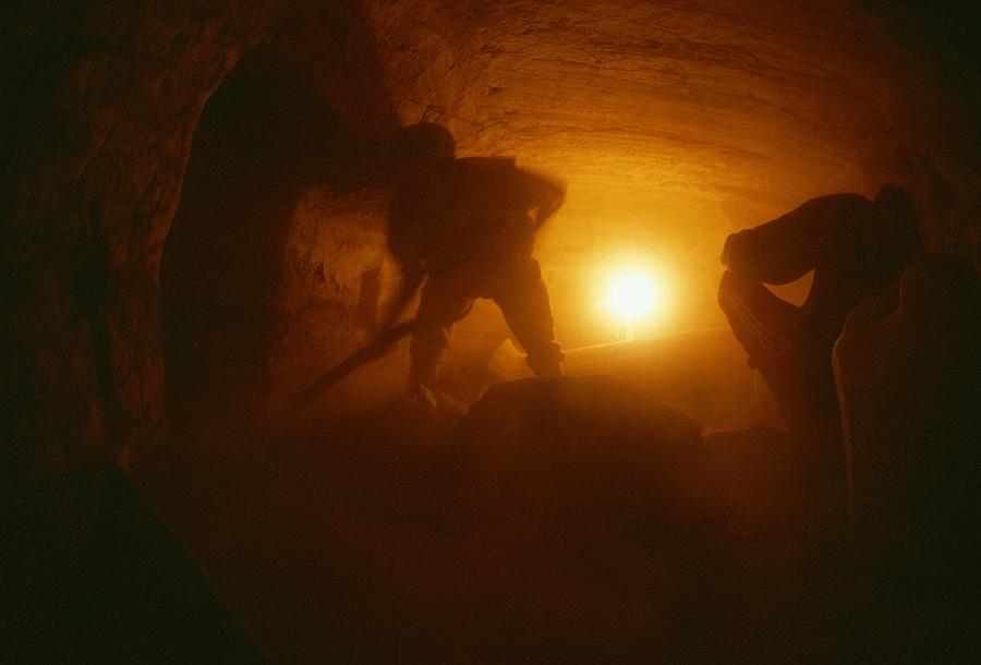 Laborers Clear Rubble From The Tomb Photograph