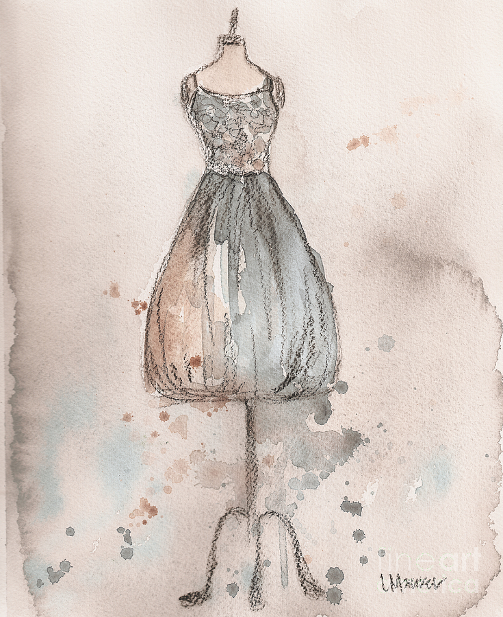 Lace Champagne Dress Painting  - Lace Champagne Dress Fine Art Print