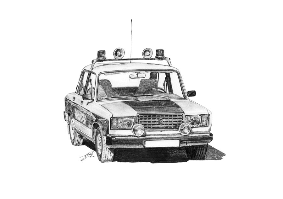 Lada Vaz 2107 Police Car Drawing  - Lada Vaz 2107 Police Car Fine Art Print