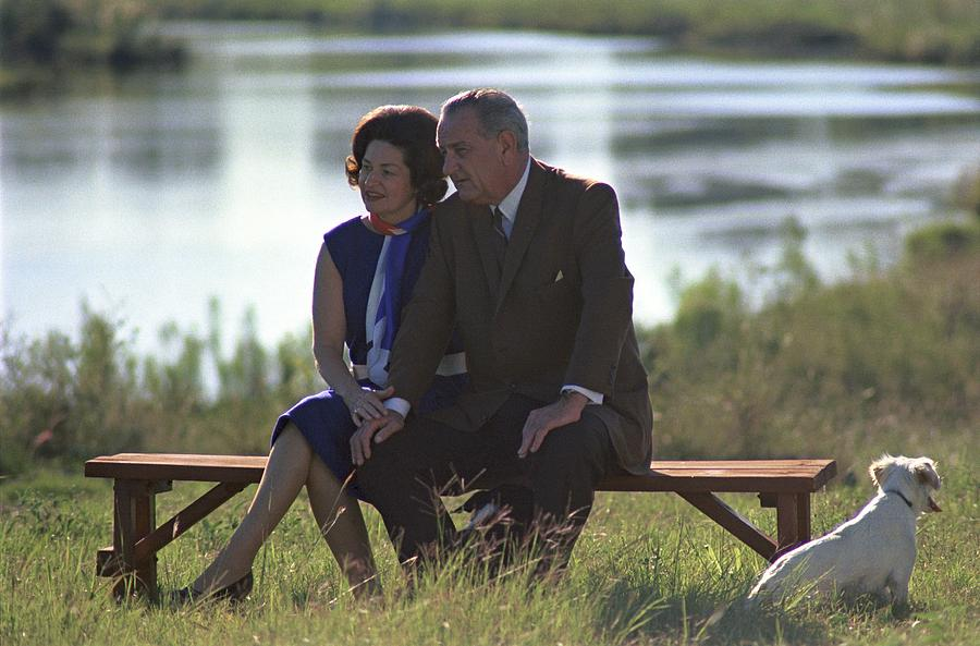 Lady Bird And President Johnson Sit Photograph