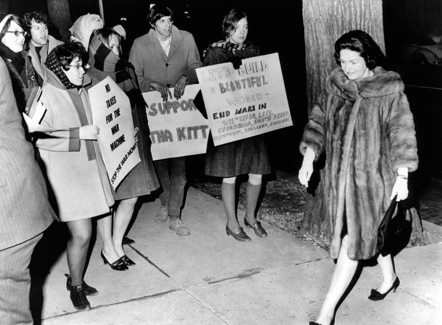 Lady Bird Johnson Walks Past A Group Photograph