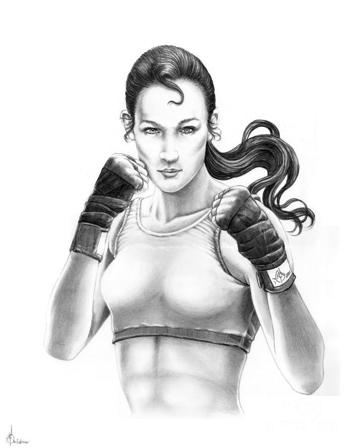 Lady Boxer Drawing  - Lady Boxer Fine Art Print