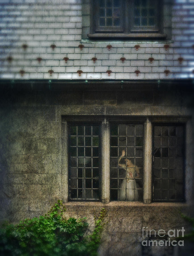 Lady By Window Of Tudor Mansion Photograph