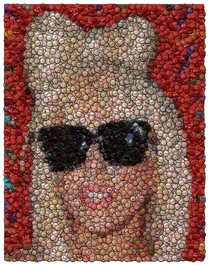 Lady Ga Ga Bottle Cap Mosaic Digital Art  - Lady Ga Ga Bottle Cap Mosaic Fine Art Print