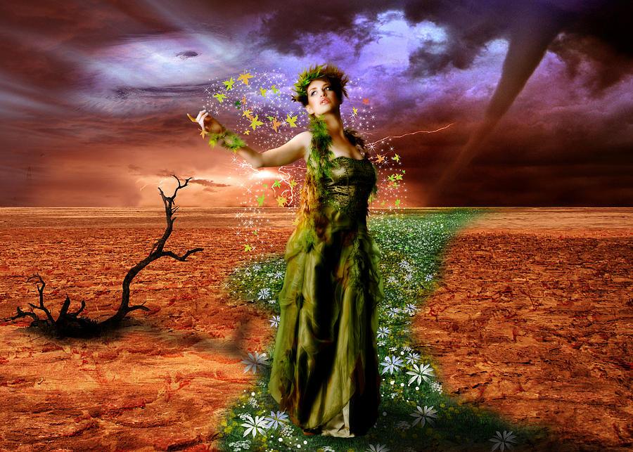 Lady Digital Art - Lady Gaia by Julie L Hoddinott