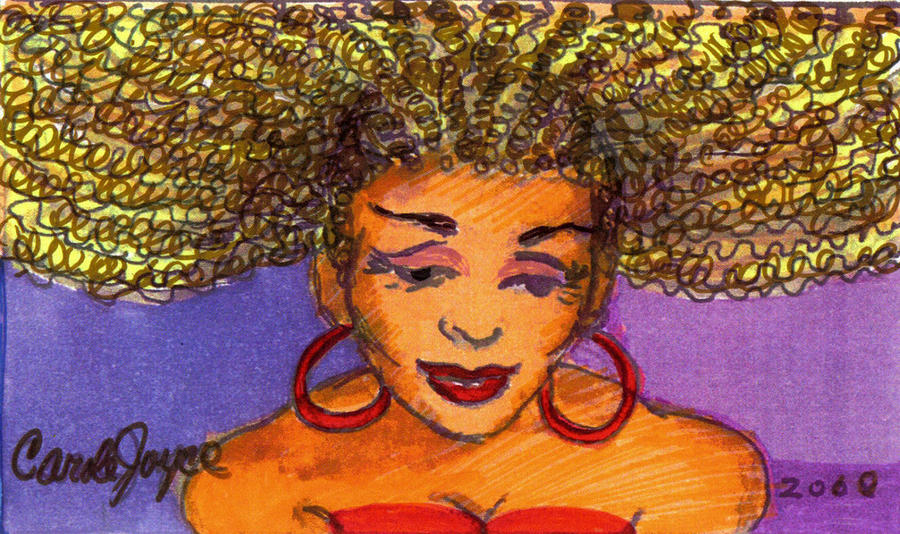 Hair Painting - Lady In Red by Carole Joyce