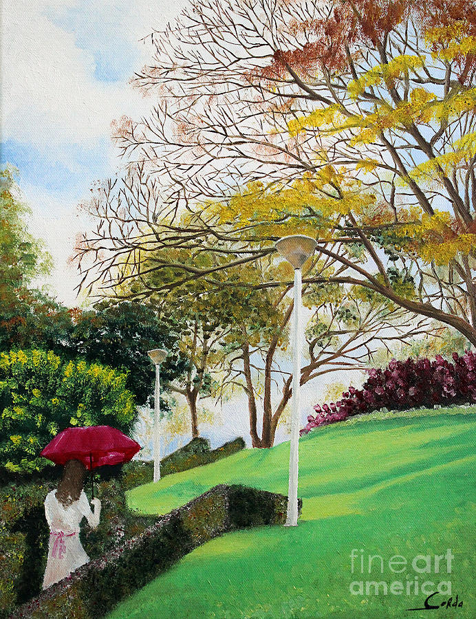 Lady In Red Umbrella - 1 Painting