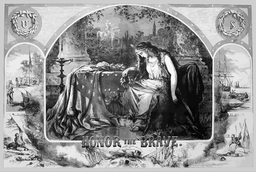 Lady Liberty Mourns During The Civil War Painting  - Lady Liberty Mourns During The Civil War Fine Art Print