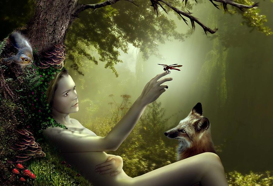 Woman Digital Art - Lady Of The Forest by Julie L Hoddinott