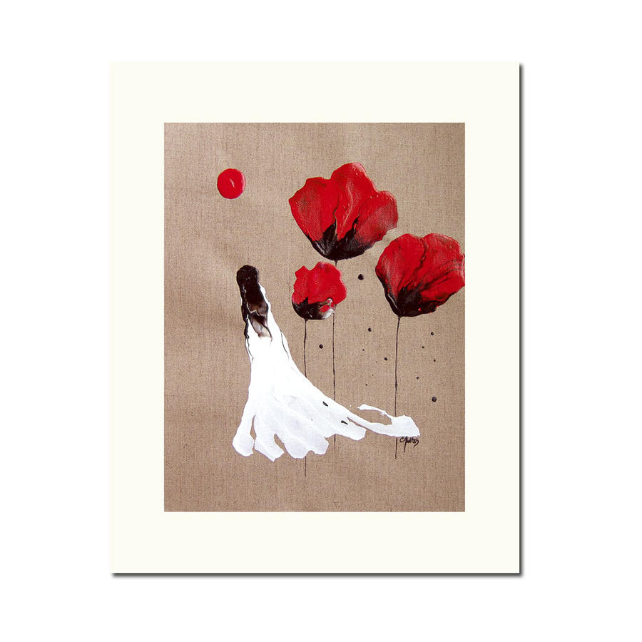 Lady Of The Poppies -contemporary Abstract Woman Red Flowers Fantasy Painting