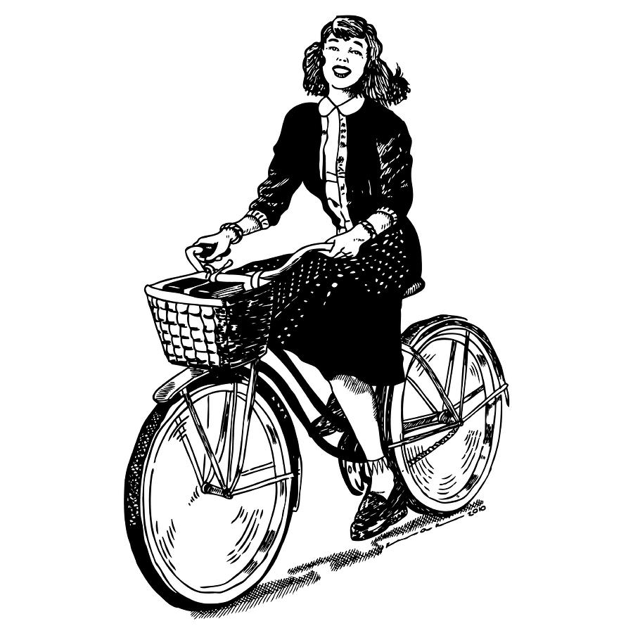 Lady On A Bike Drawing  - Lady On A Bike Fine Art Print