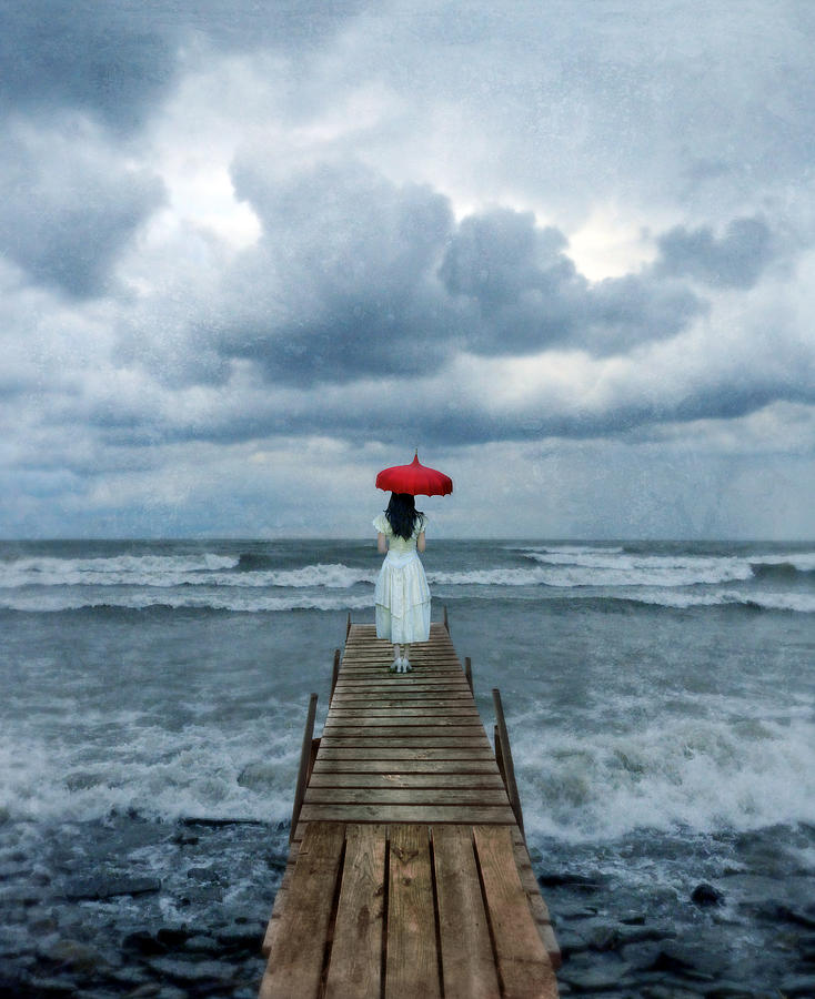 Lady On Dock In Storm Photograph  - Lady On Dock In Storm Fine Art Print