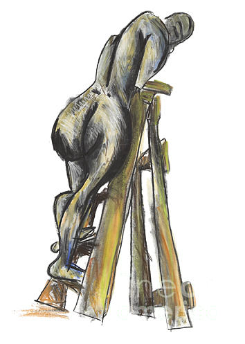 Lady On Ladder Painting