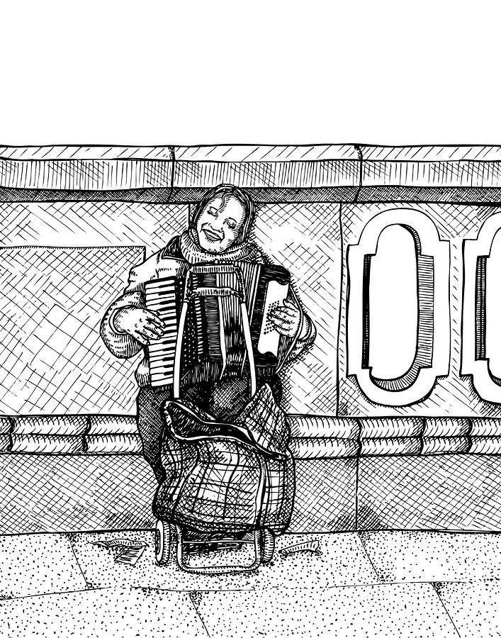 Lady Playing An Accordion Drawing