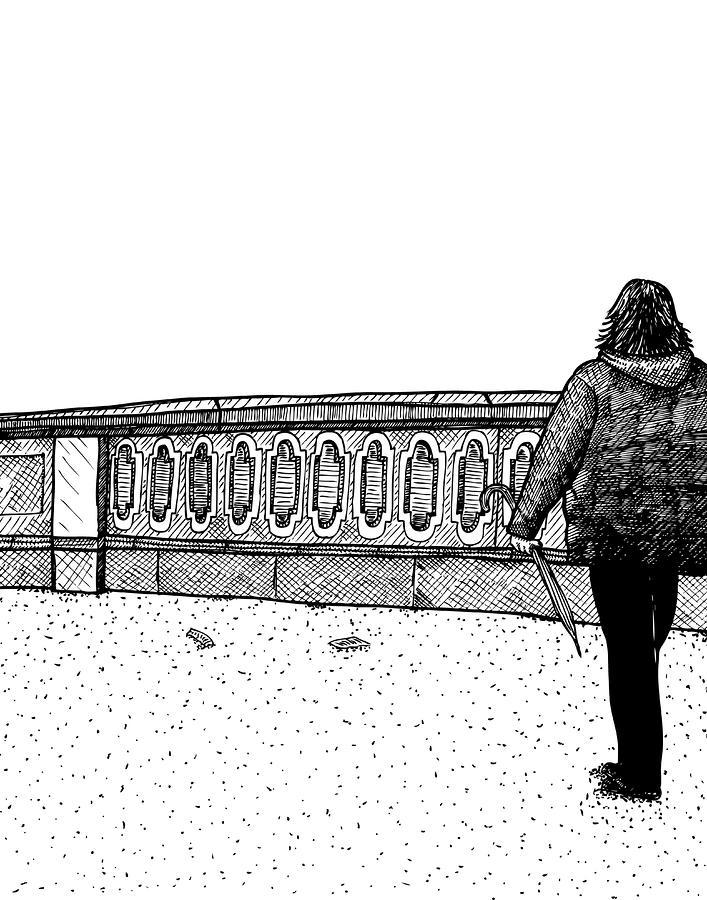 Lady Walking Drawing