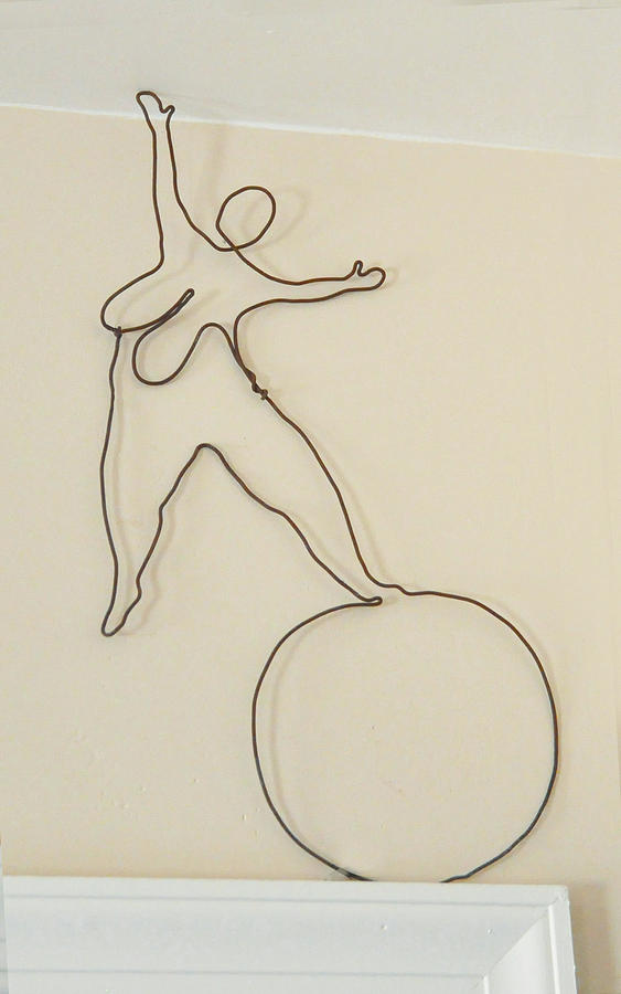 Lady With 1 Foot On The Ball   Sculpture  - Lady With 1 Foot On The Ball   Fine Art Print