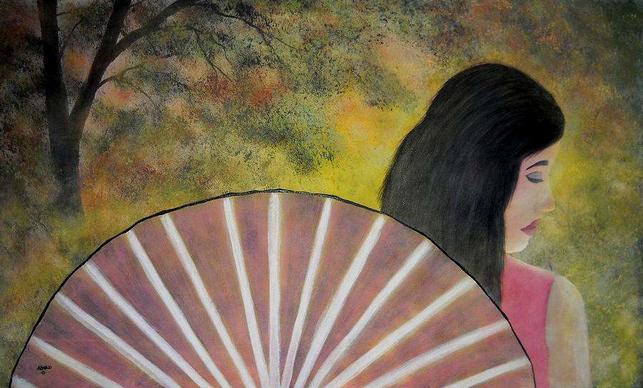 Lady With A Fan Painting