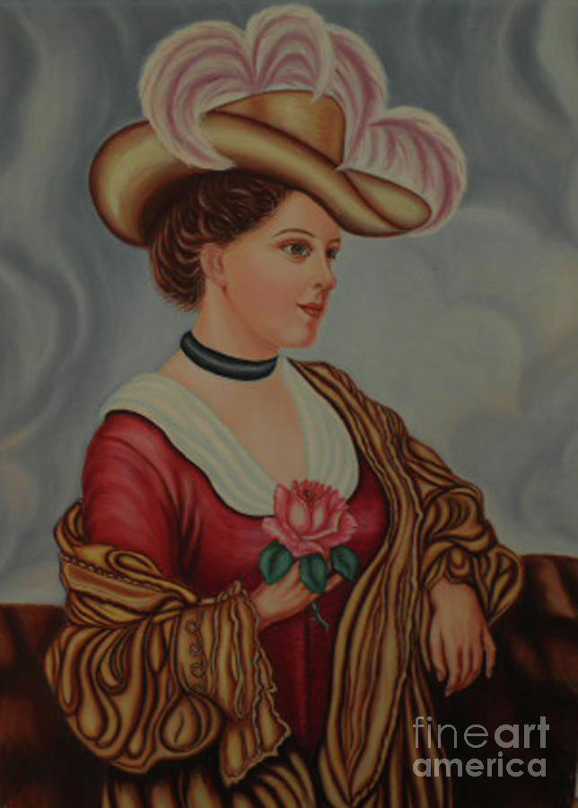Lady With A Pink Rose Painting  - Lady With A Pink Rose Fine Art Print