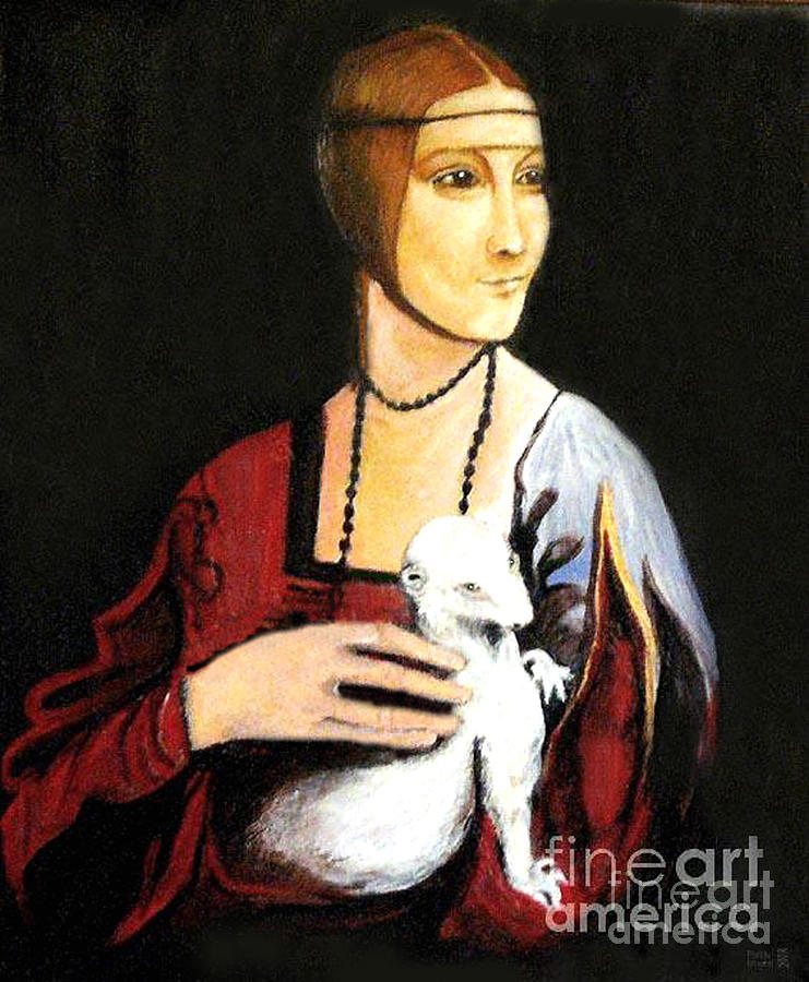 Lady With An Ermine  Dama Con Ermellino Painting  - Lady With An Ermine  Dama Con Ermellino Fine Art Print
