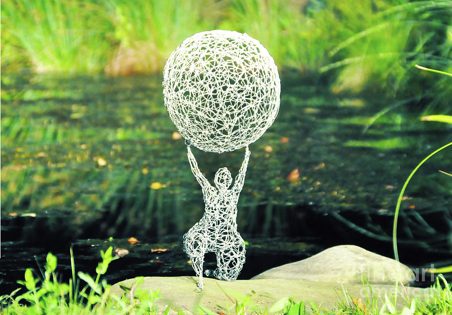 Wire Sculpture Sculpture - Lady With Ball by Tommy  Urbans