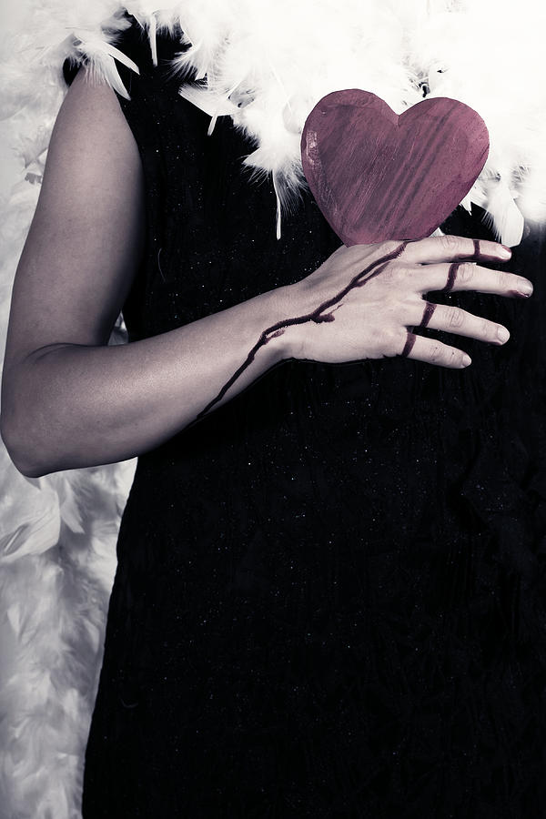 Lady With Blood And Heart Photograph