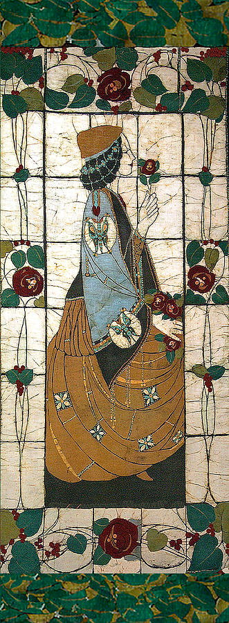 Lady With The Rose Tapestry - Textile