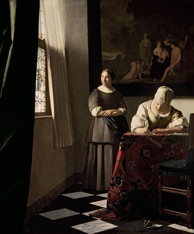 Lady Writing A Letter With Her Maid Painting