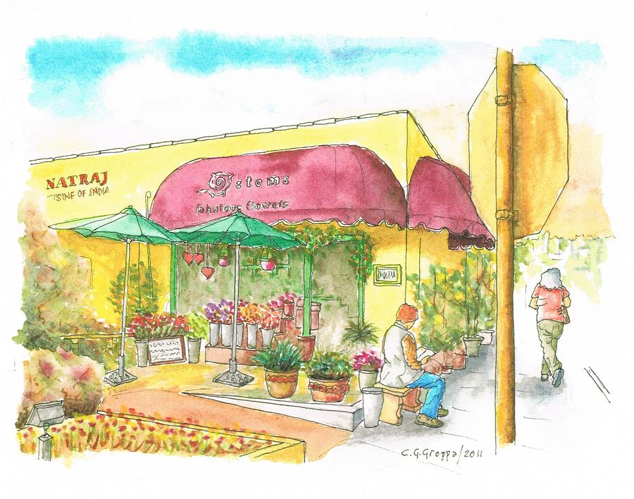 Laguna-beach-ca-flower-shop Painting  - Laguna-beach-ca-flower-shop Fine Art Print