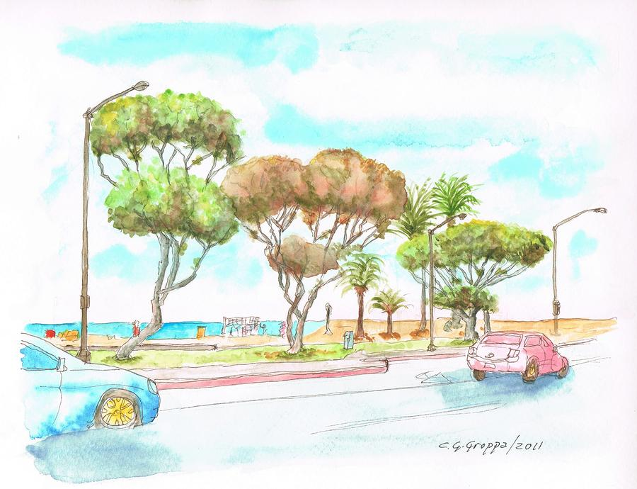 Laguna-beach-waterfront-california Painting  - Laguna-beach-waterfront-california Fine Art Print