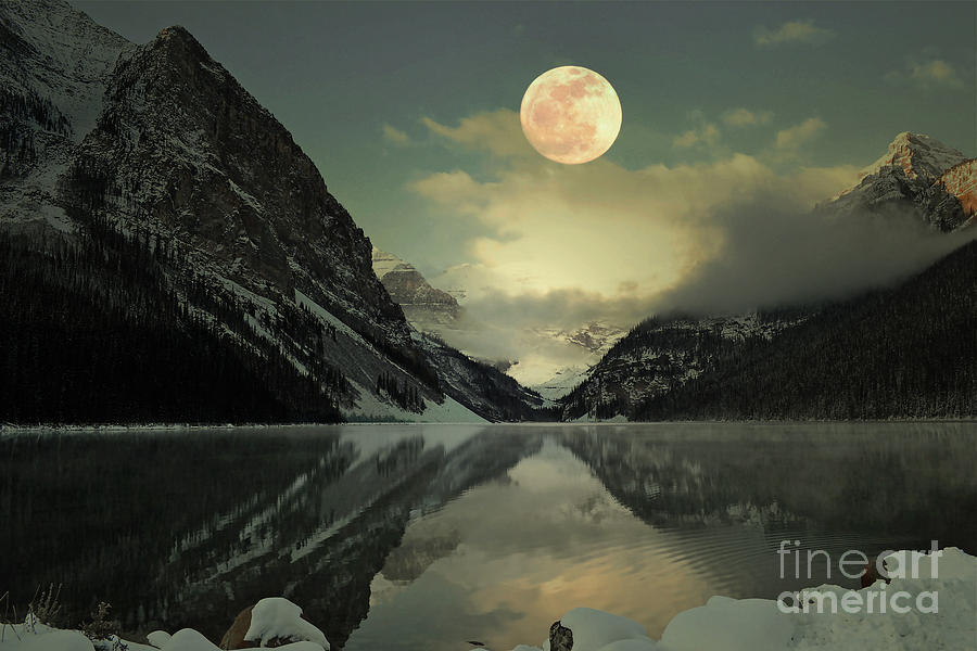 Lake Louise Moon Glow Photograph  - Lake Louise Moon Glow Fine Art Print
