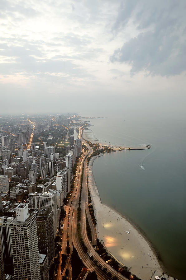 Lake Michigan And Chicago Skyline. Photograph