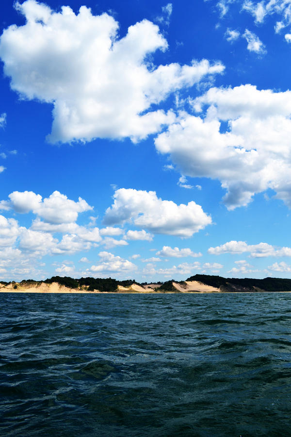 Lake Photograph - Lake Michigan Shore With Clouds by Michelle Calkins