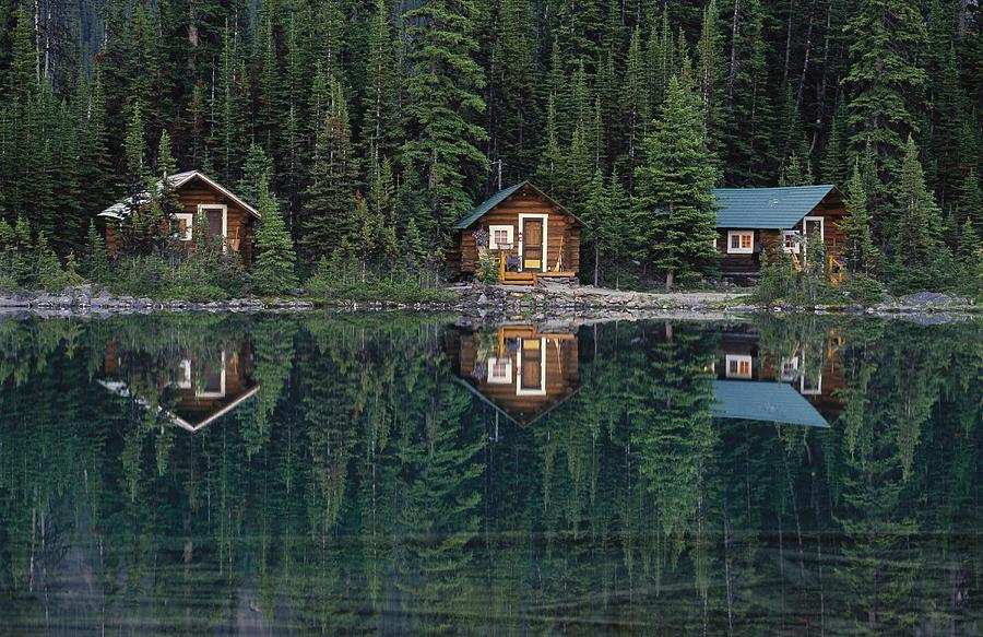 Lake Ohara Lodge Cabins Reflected Photograph  - Lake Ohara Lodge Cabins Reflected Fine Art Print