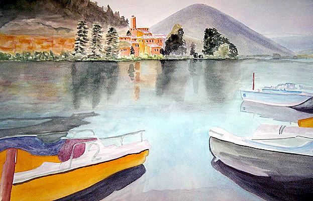 Lake Piediluco Italy Painting