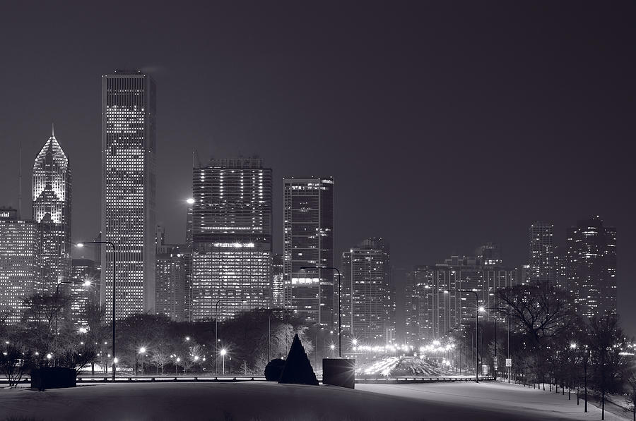 Lake Shore Drive Chicago B And W Photograph
