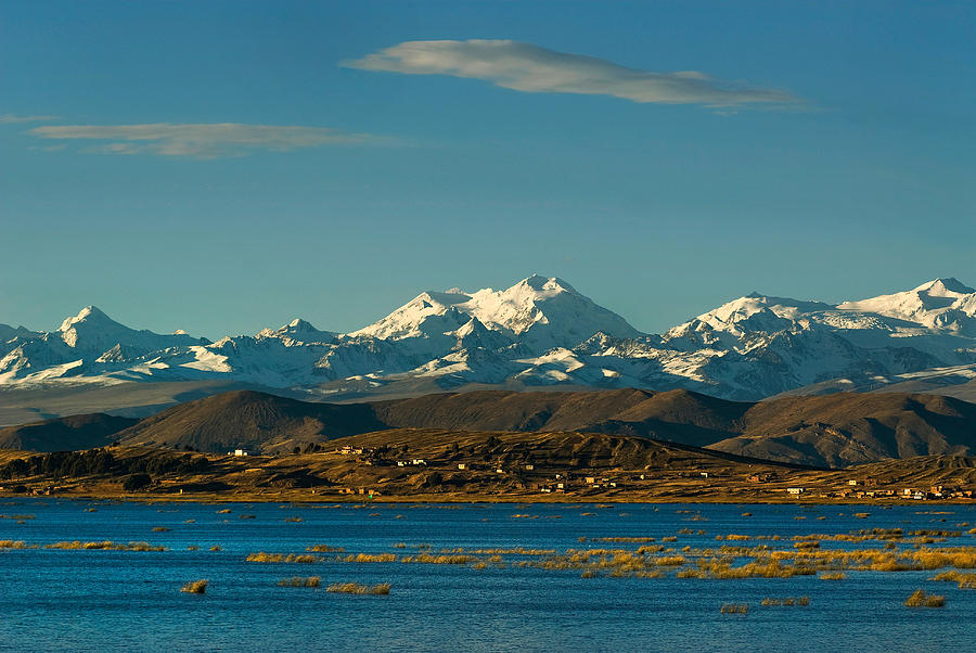 Lake Titicaca And The Cordillera Real In The Background.republic Of Bolivia. Photograph  - Lake Titicaca And The Cordillera Real In The Background.republic Of Bolivia. Fine Art Print
